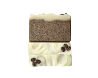 Coffee Soap - Turkish Hazelnut Cafe - Exfoliating Scratchy Soap w Coffee Grounds - Phthalate, Paraben, and Sulfate Free - Coffee Lover Gift