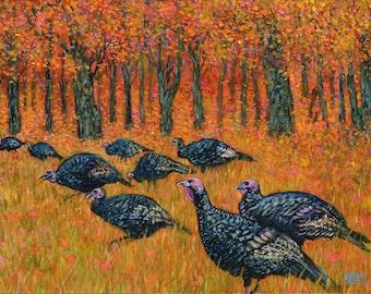 Wild Turkeys in Autumn at John Greenleaf Whittier Birthplace Signed Print by Mark Reusch