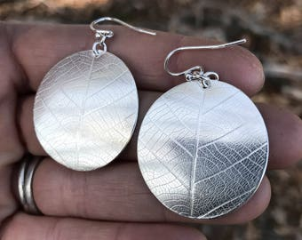 Round Leaf Earrings - Disc Earrings - Botanical Silver Jewelry - Sterling Silver Dangle Earrings