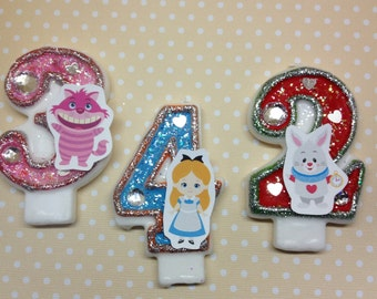 Alice in Wonderland Birthday Party Number Candle