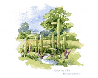 Watercolour Country Scene OVER the STILE, Handmade Limited Edition Watercolor Landscape Wall Art Print, Original Watercolour Painting