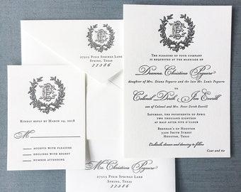 Sample Victorian Magnolia Wreath letterpress wedding invitation in black