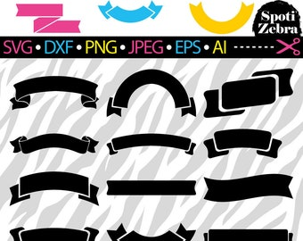 Banner SVG Ribbon SVG Files for Cricut Silhouette Laser Cut svg dxf png jpeg eps ai files (scrap booking clip art clipart vinyl) Vol 1