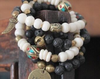 KARMA-Set of 4 Tibetan mix beaded stretch bracelest set Free people style Spiritual Hindu Bohemian Om Buddha rustic