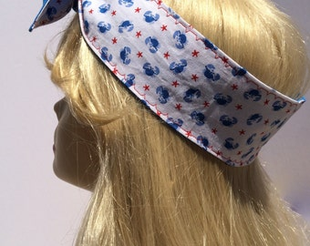 Blue Crab Nautical with Red Star Pin Up Headband Headscarf
