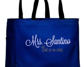 Mrs. Tote Bag with Established Date Personalized Soon to be Mrs. Honeymoon Embroidered