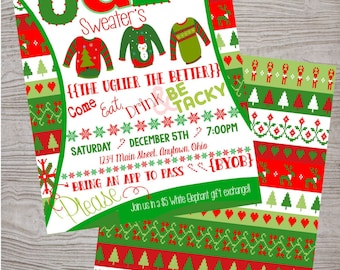 Ugly Sweater Party FREE BACKSIDE Christmas invitation Customized printable. digital download