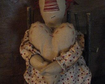 Primtive Raggedy Ann with Heart Doll