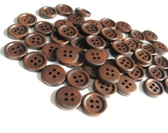 Boutons de bois marron foncé à 4 trous en bois naturel de 15mm - ensemble de 60