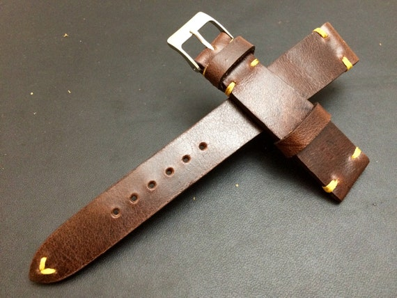 Leather watch band, Brown watch band, Leather watch strap, Vintage watch band for 19mm, 20mm lug, Brandy Brown, 16mm buckle, FREE SHIPPING