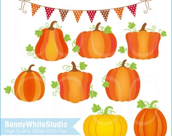 Thanksgiving Pumpkin Clip Art. Autumn Fall Harvest. Greeting Card Invitations Making. For Personal and Small Commercial Use. B-0063