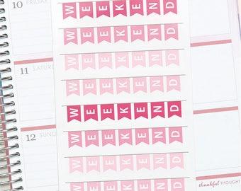 February '18 HORIZONTAL Erin Condren Weekend Banner Planner Stickers (8 Stickers)