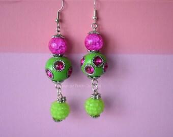Pink/Green Glass Bead Drop Earring (20177E)