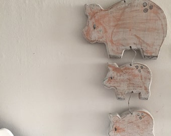 Vintage wooden distressed pig wall art