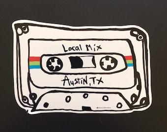 Local Mix Red/Blue/Green Vinyl Sticker - Local Mix - Mix Tape - Austin Texas - Austin Blanks
