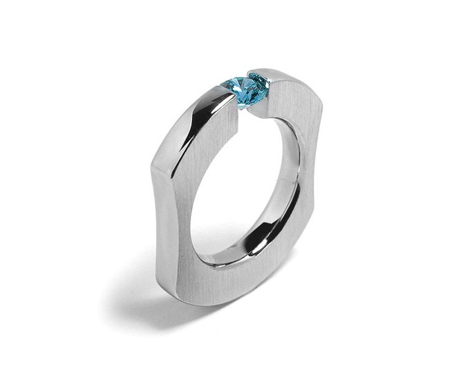 Blue Topaz Comfort Fit Tension Set  Mens Ring Stainless Steel