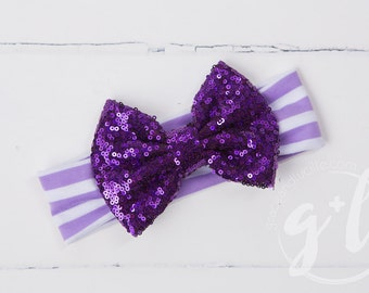 Purple sequin headband, Striped headband with sequin bow, Purple sequin bow,  toddler headband, Sequin bow headband