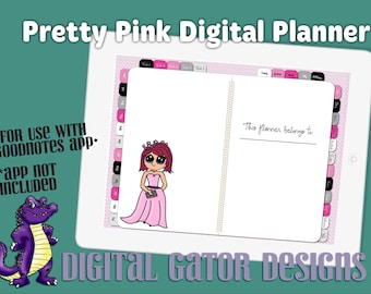 Pretty Pink Digital Planner - Undated with Hyperlinked Tabs
