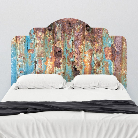 Rusted Metal Look Headboard Wall Decal by WallsNeedLove