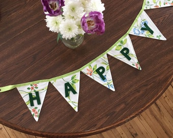 Large Happy Birthday Pendant Banner -- Morning Glory Floral