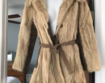 Vintage Leather and Fur Coat with leather tie detail