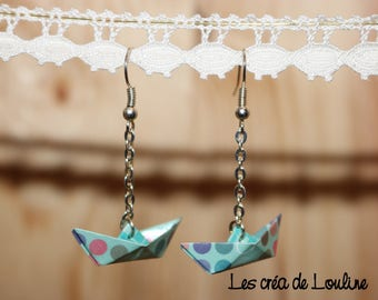 Earrings origami boat