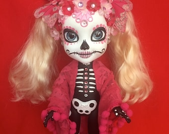 Cora Ronaextra is a OOAK  Day of the Dead baby art doll