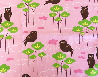 Hot Couturier Owls Petal Pink, Robert Kaufman, 100% Cotton Quilting Fabric Apparel, Fabric by the Yard