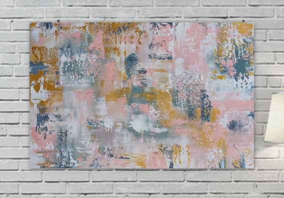 "large pink gold abstarct painting 36 x 24 "" Longed For"" Large pink yellow gray wall artOrigina girls room canvas modern contemporary"