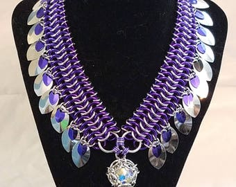 Purple and Silver Kingsmaille collar w/ scale fringe and Crystal AB Phaedra© pendant - 14mm