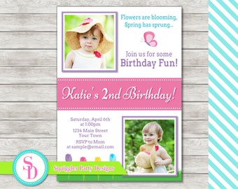 Spring Flowers Birthday Invitation, Spring Invitation - Digital File (Printing Services Available)