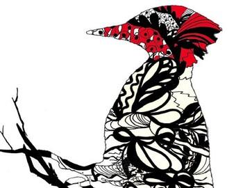 WOODPECKER PAINTING, Wood Pecker Art Print, Bird Artist, Bird Painting, Whimsical Bird Art, Bird Lover Gift, Black and White Modern Wall Art