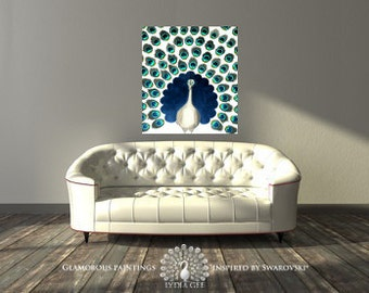 Unique art 65+ Swarovski® crystals. Peacock canvas art. Peacock decor. Peacock blue painting. Original canvas painting by Lydia Gee.