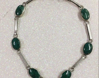 Sterling Silver Malachite Green Gemstone Bracelet