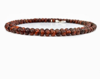 Men's Tiger Eye Bead Necklace, Red Tiger Eye Beaded Necklace