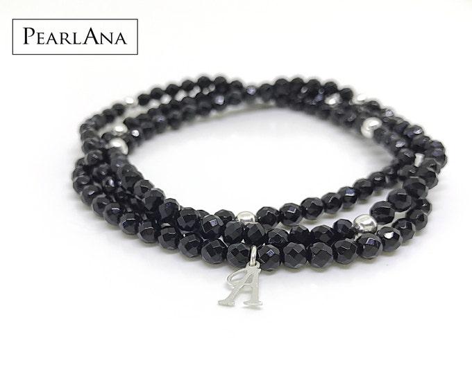 Natural, small bead, black onyx versatile bracelet