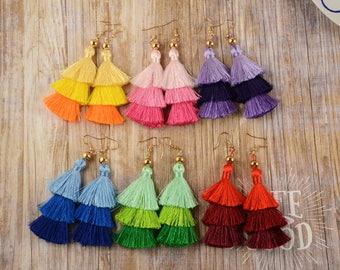 Three Layer Tassel Earrings, Tassel Earrings, Dangle Earrings, Fringe Earrings, Cluster Earrings, Boho Jewelry, F