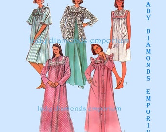 2) Simplicity 7643 Womens Lingerie, Nightgown Robe Bed Jacket House Dress Duster size 14 16 Bust 36 38 Vintage Sewing Pattern Uncut FF
