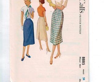 1950s Vintage Sewing Pattern McCalls 8885 Misses Long Slim Calf Length Skirt Size 10 Waist 24 50s