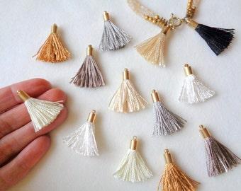 Mini Tassel Charms, 2pcs, Jewelry Making Tassels, Mini Tassels, Handmade Tassels