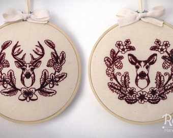 "Embroidered Deer, Stag & Doe, with Laurel 5"" Embroidery Hoop"