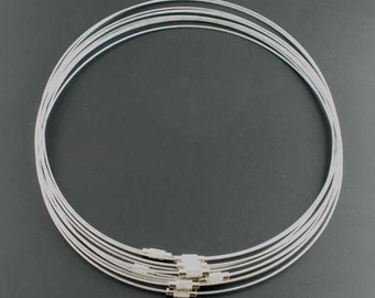 10 pcs. Memory Wire Choker Coated Necklaces with Silver Screw Clasp - 18 inch - 1mm - THICK - Grey Silver Tone - HIGH QUALITY