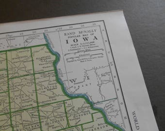 Vintage 1940s map of Iowa, Kansas Original 1947 US State map, wall art, decor, old maps