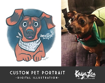 Custom Pet Portrait | Custom Dog Portrait | Pet Adoption Anniversary | Custom Cat Portrait | Cartoon Pet Caricature | Pet Illustration