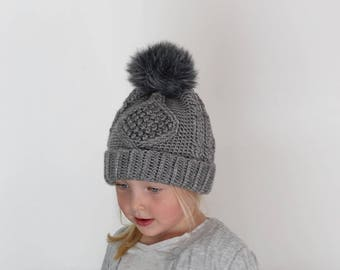 Crochet Pattern - Deserai Diamond Crochet Cable Hat by Lakeside Loops (includes Toddles, Kids, & Adult sizes)