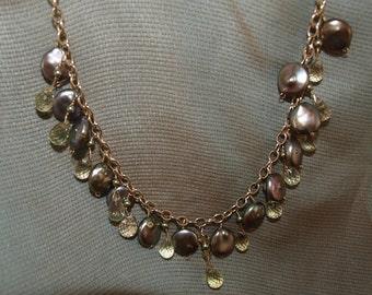 lemon  quartz briolette,/green coin pearl /g.f. necklace