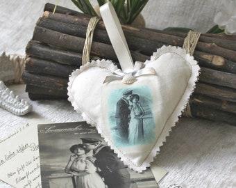 Deco Heart, door hanger, wardrobe pendant, cotton fabric, vintage motif, Maritim, seafaring