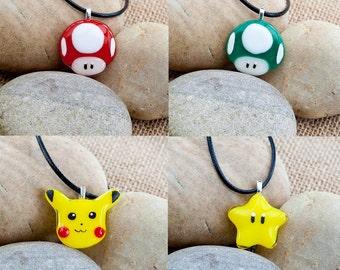 Unisex Nintendo inspired handmade fused glass pendants Mario Mushroom Star Pikachu Pokemon Go nerdy geeky Mario Kart 8 gamer Nintendo Switch