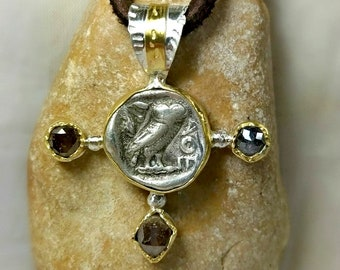 Athena Owl Necklace, Ancient coin and Rose cut diamond Pendant, silver, 22 kt gold and diamond necklace, Ancient coin jewelry