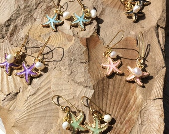 Starfish with a Pearl earrings